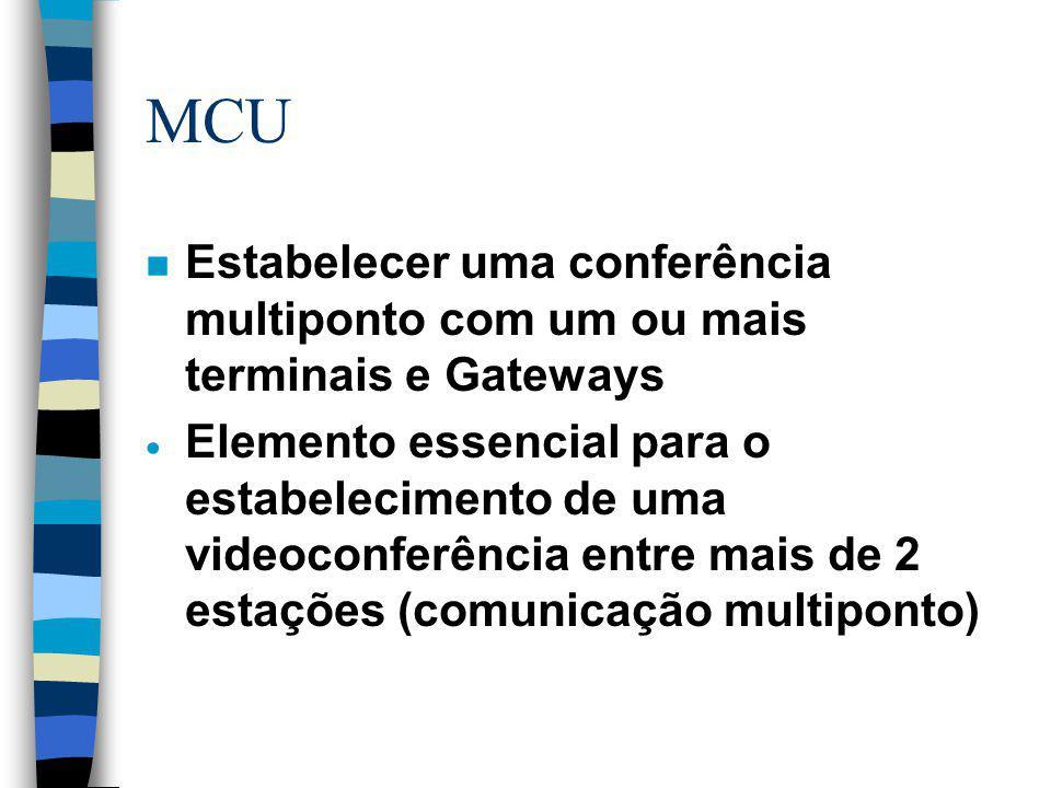 MCU Estabelecer uma conferência multiponto com um ou mais terminais e Gateways.