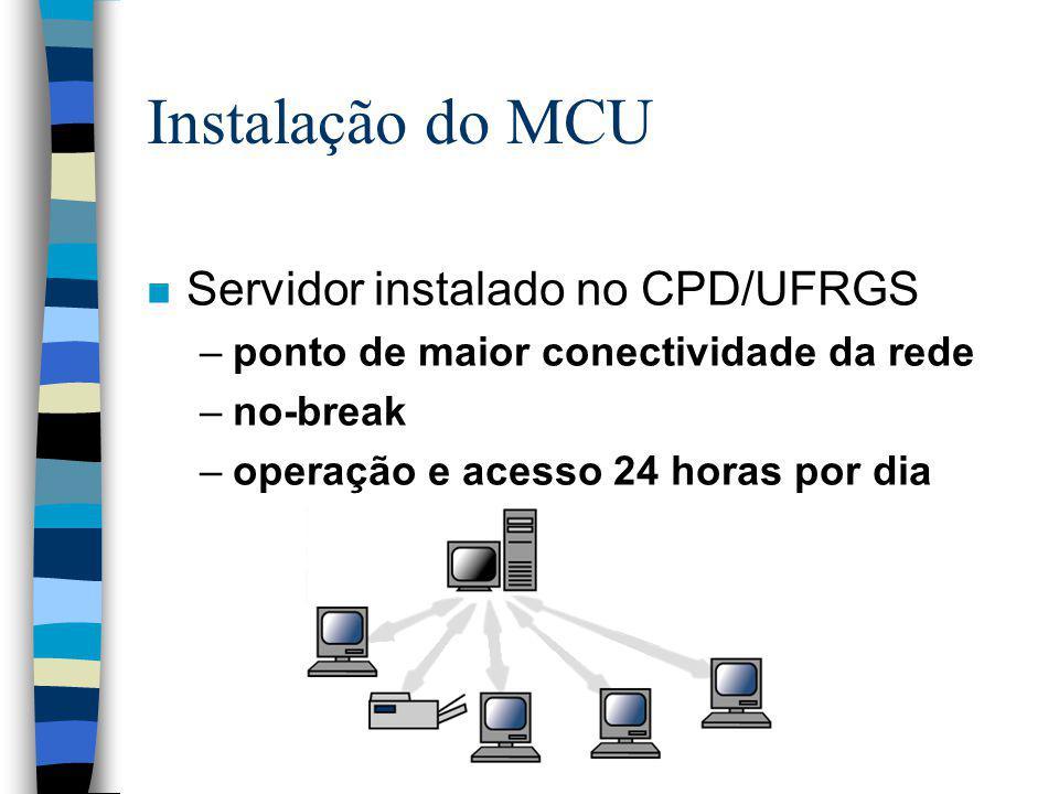 Instalação do MCU Servidor instalado no CPD/UFRGS