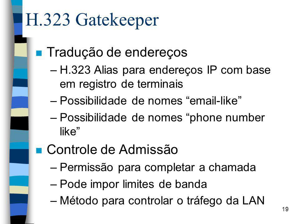 H.323 Gatekeeper Tradução de endereços Controle de Admissão
