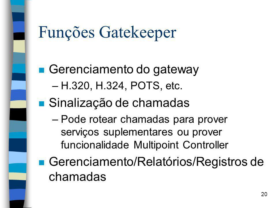 Funções Gatekeeper Gerenciamento do gateway Sinalização de chamadas