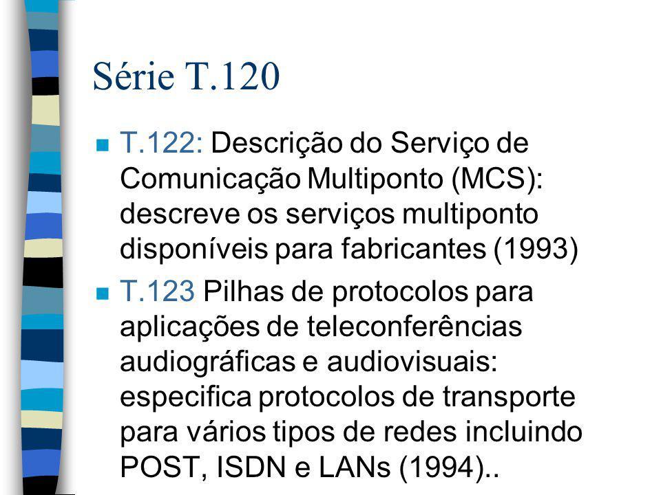 Série T.120 T.122: Descrição do Serviço de Comunicação Multiponto (MCS): descreve os serviços multiponto disponíveis para fabricantes (1993)