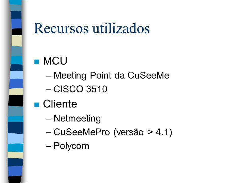 Recursos utilizados MCU Cliente Meeting Point da CuSeeMe CISCO 3510