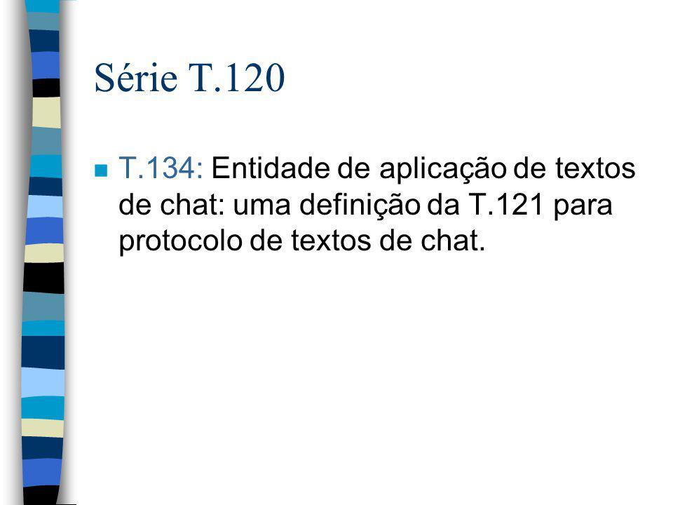 Série T.120 T.134: Entidade de aplicação de textos de chat: uma definição da T.121 para protocolo de textos de chat.