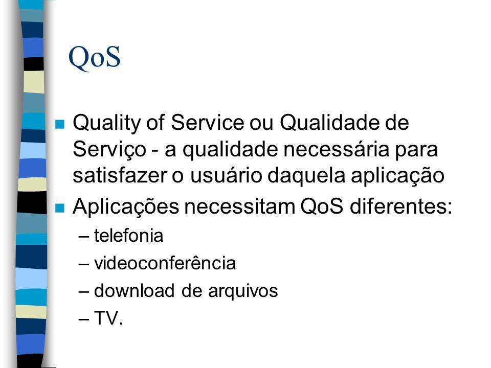 QoS Quality of Service ou Qualidade de Serviço - a qualidade necessária para satisfazer o usuário daquela aplicação.
