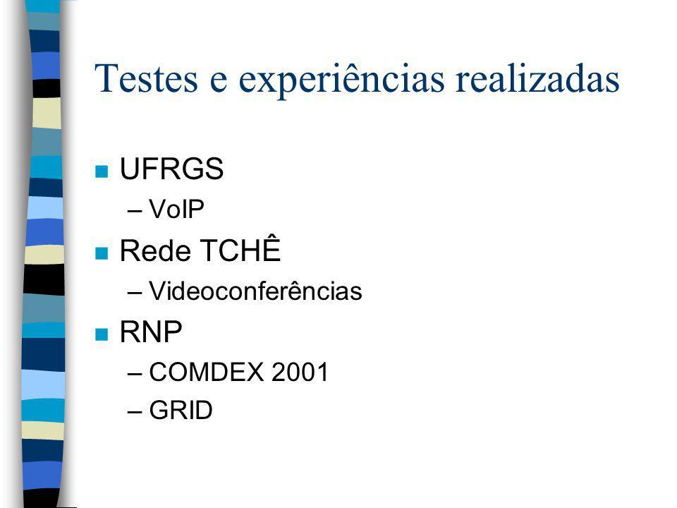 Testes e experiências realizadas
