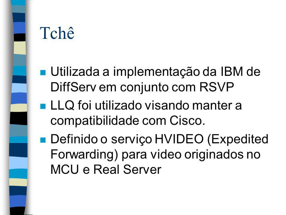 Tchê Utilizada a implementação da IBM de DiffServ em conjunto com RSVP
