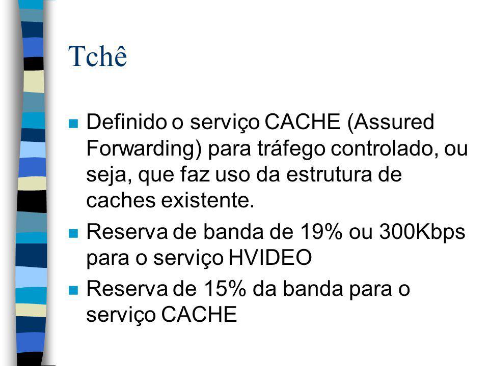 Tchê Definido o serviço CACHE (Assured Forwarding) para tráfego controlado, ou seja, que faz uso da estrutura de caches existente.