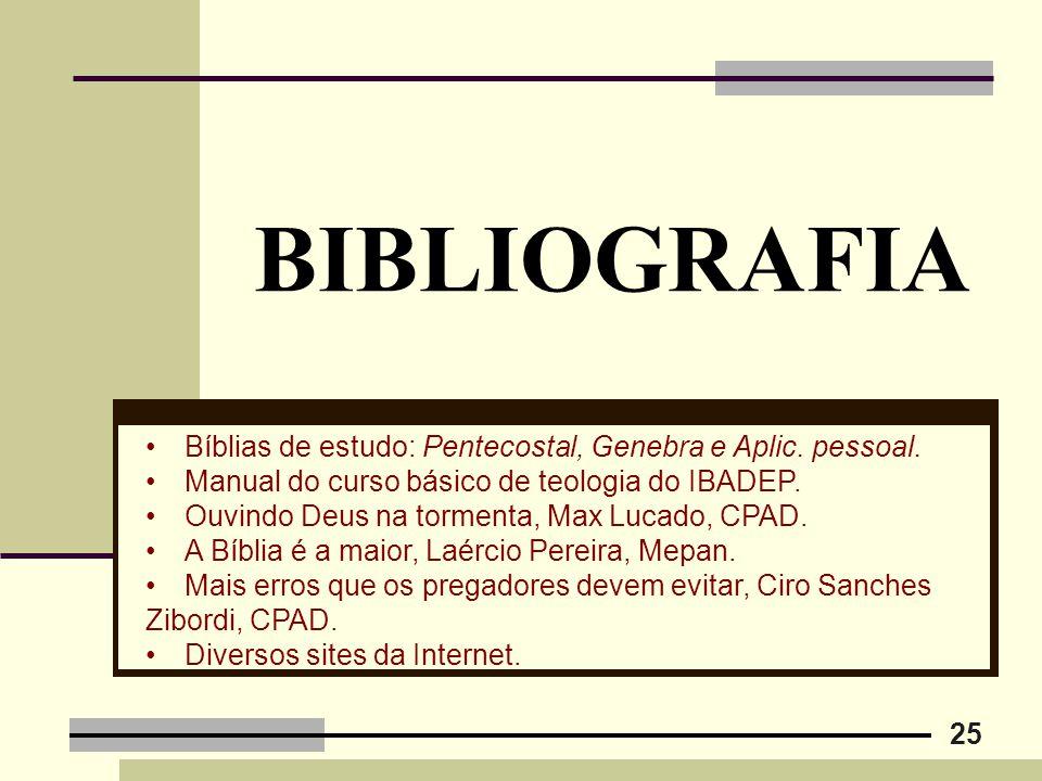 BIBLIOGRAFIA Bíblias de estudo: Pentecostal, Genebra e Aplic. pessoal.