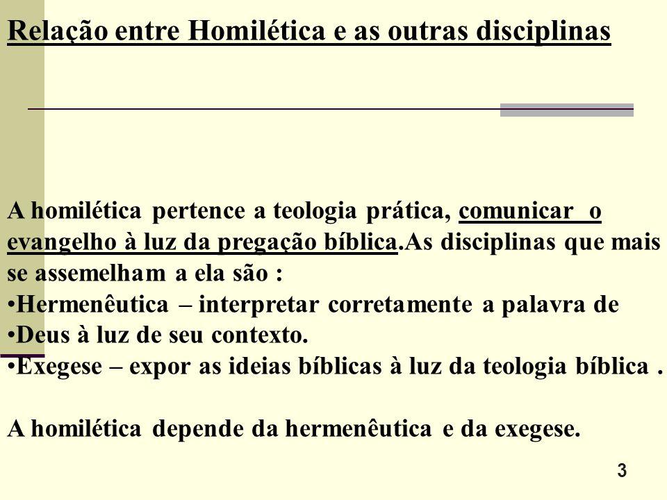 Relação entre Homilética e as outras disciplinas