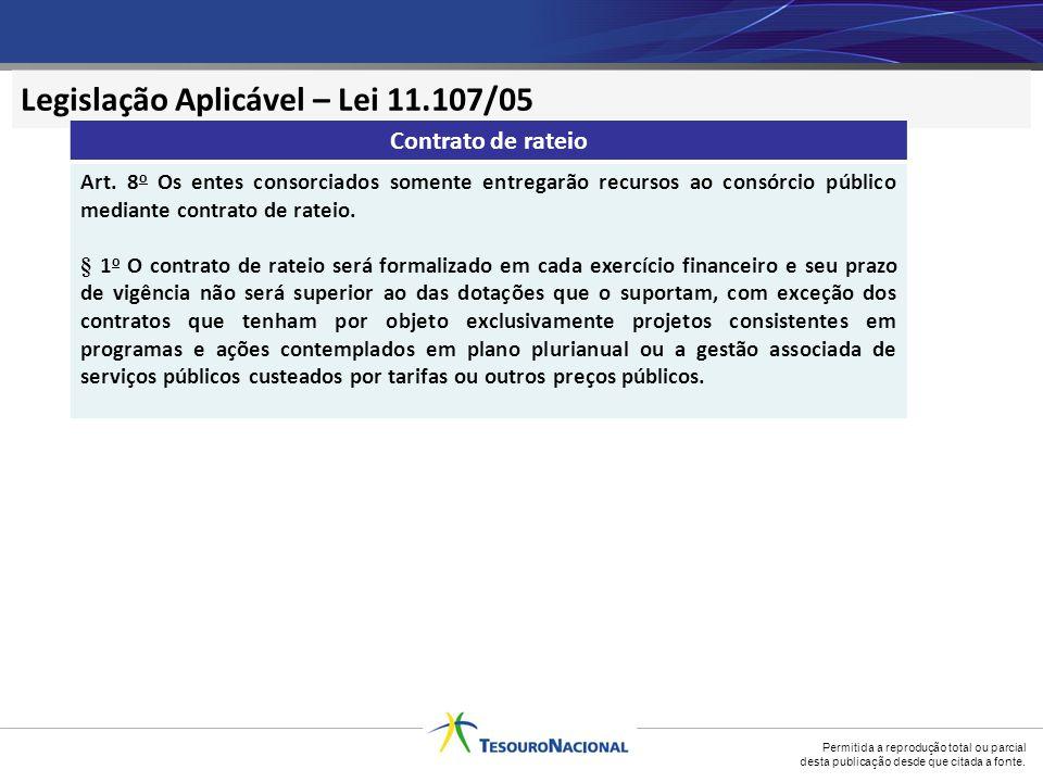 Legislação Aplicável – Lei 11.107/05
