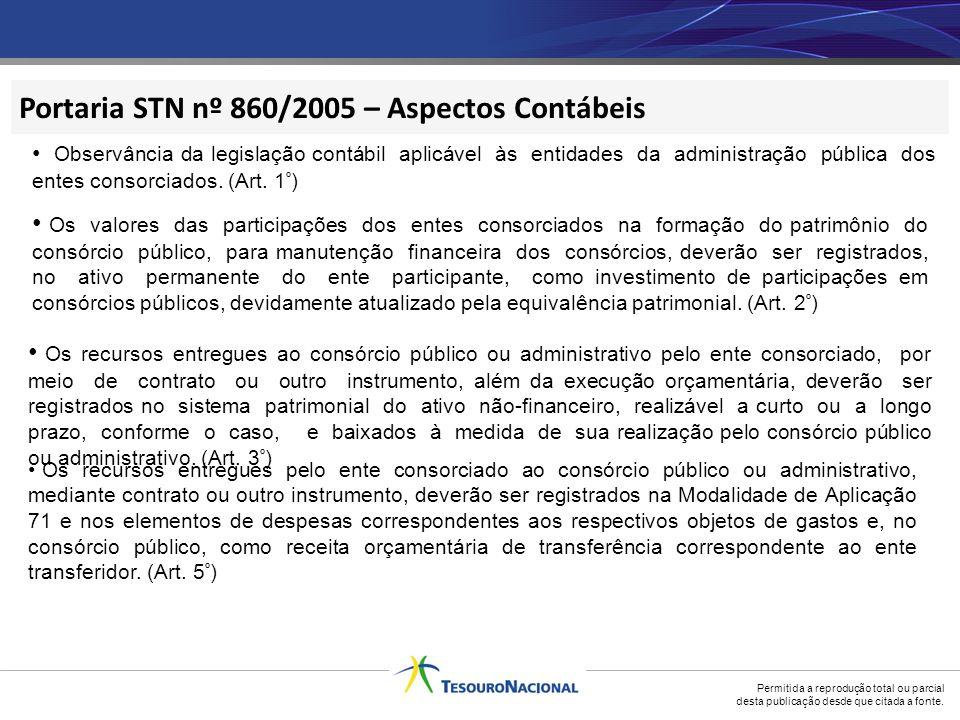 Portaria STN nº 860/2005 – Aspectos Contábeis
