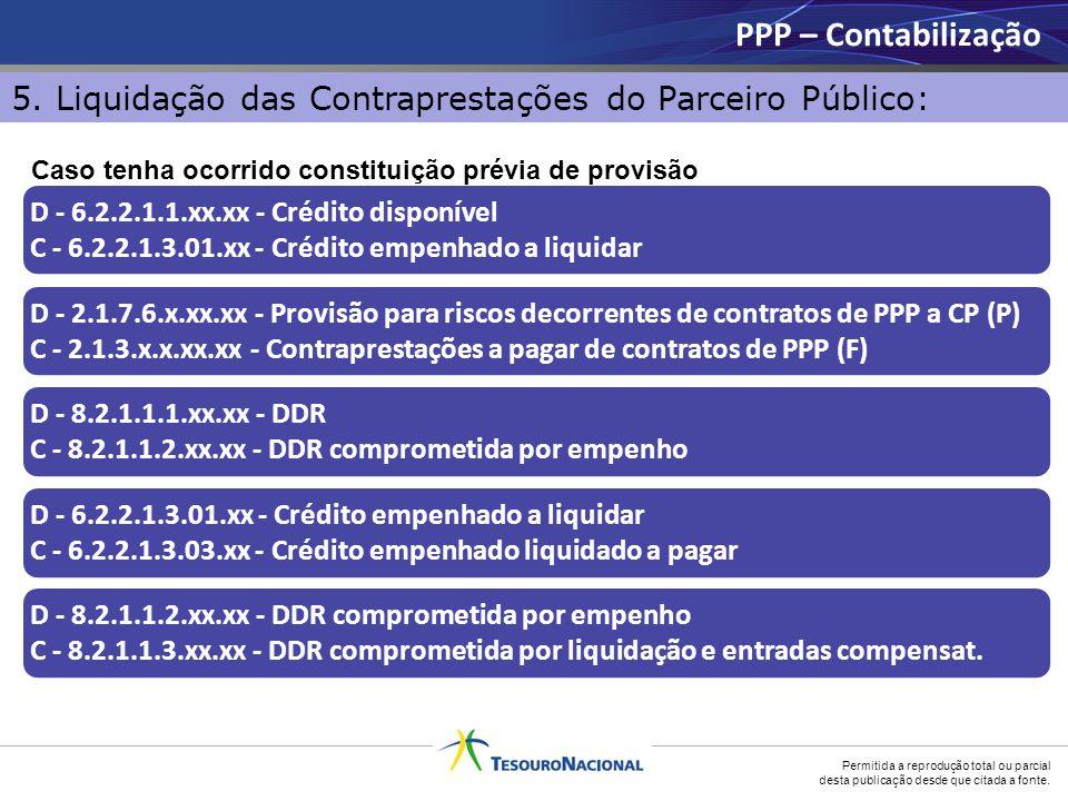 PPP – Contabilização 5. Liquidação das Contraprestações do Parceiro Público: Caso tenha ocorrido constituição prévia de provisão.