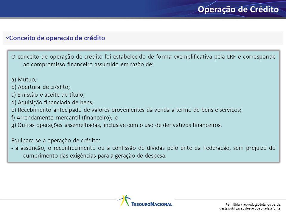Operação de Crédito Conceito de operação de crédito