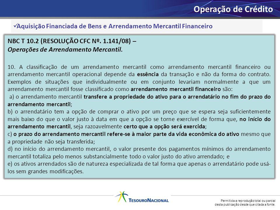 Operação de Crédito Aquisição Financiada de Bens e Arrendamento Mercantil Financeiro. NBC T 10.2 (RESOLUÇÃO CFC Nº. 1.141/08) –