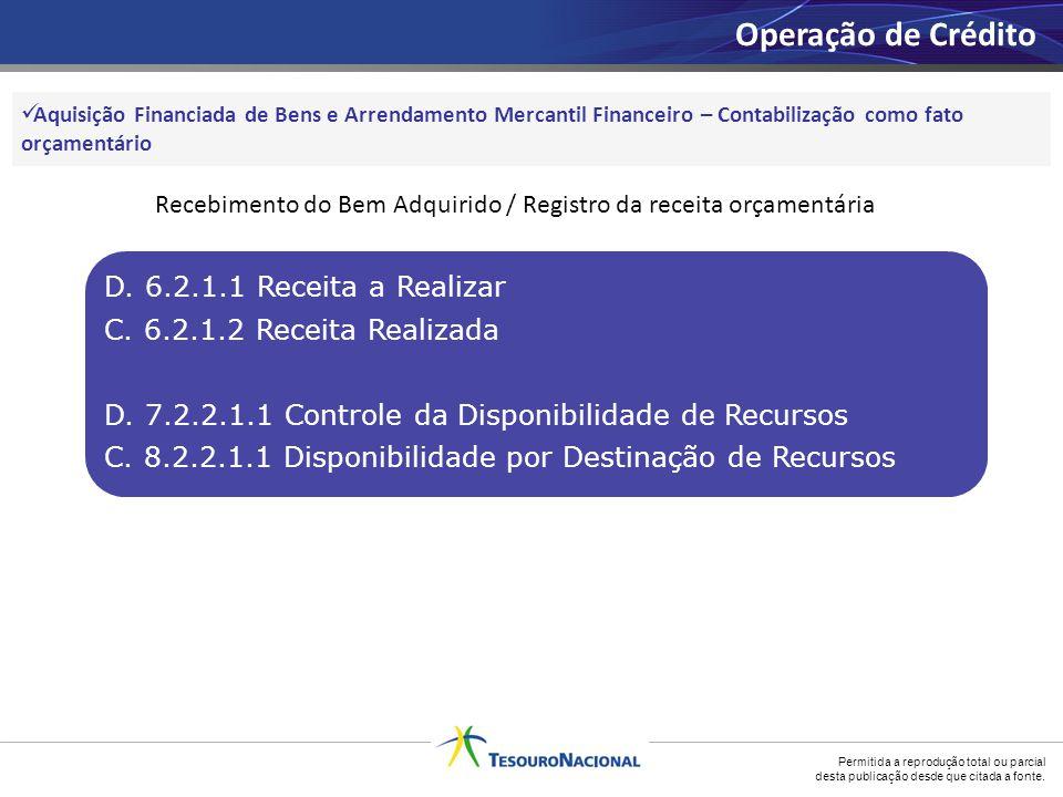Recebimento do Bem Adquirido / Registro da receita orçamentária