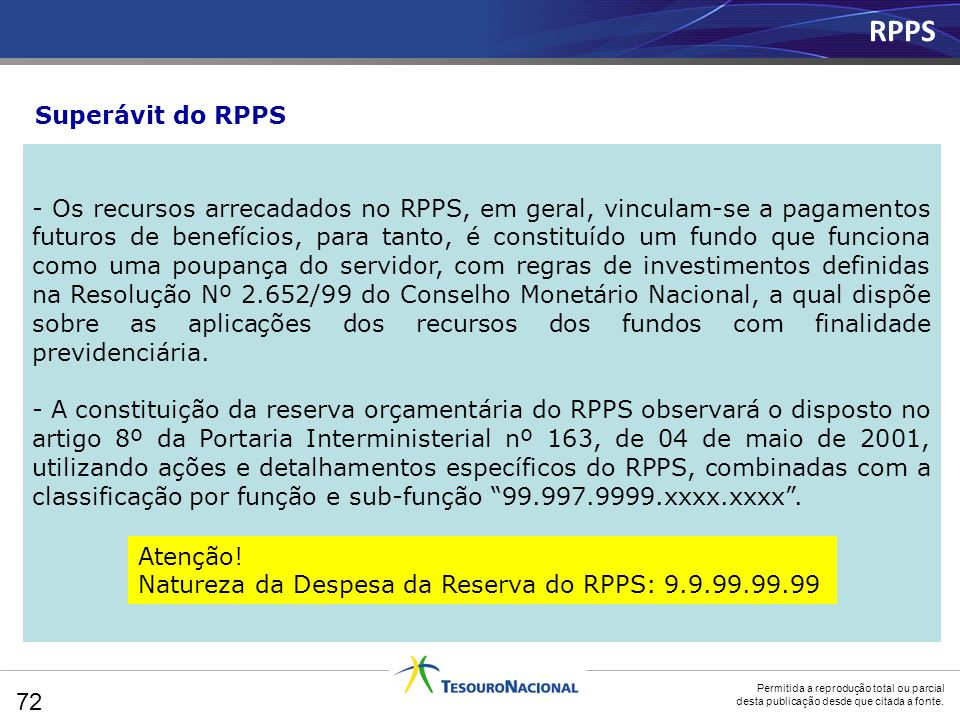 RPPS Superávit do RPPS.