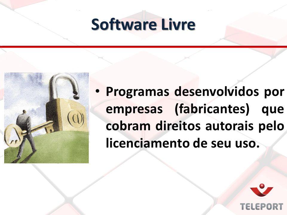 Software Livre Programas desenvolvidos por empresas (fabricantes) que cobram direitos autorais pelo licenciamento de seu uso.