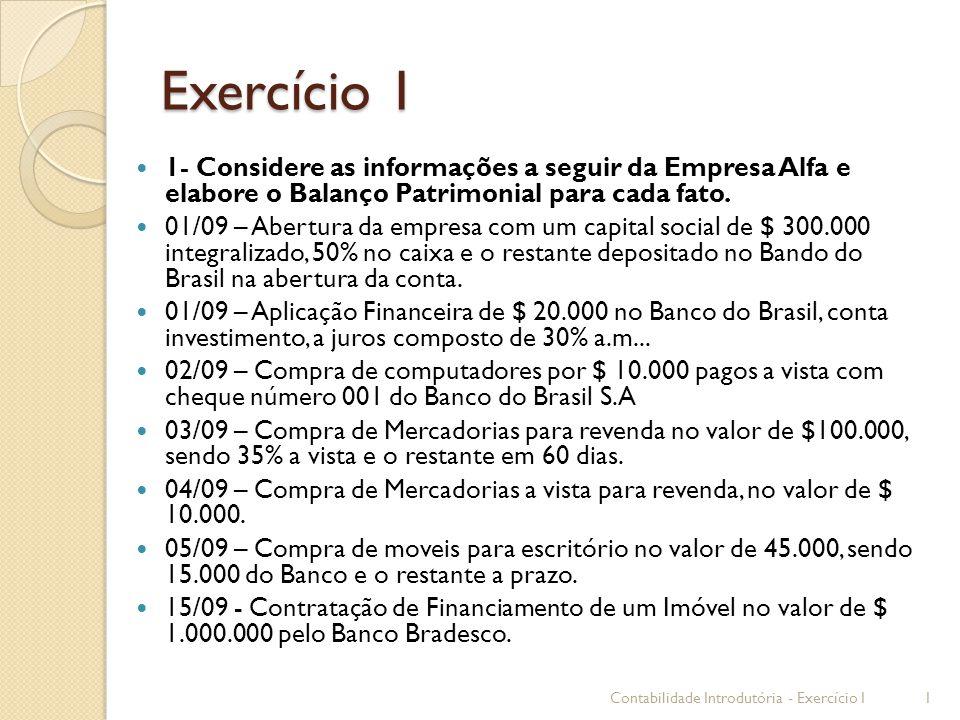 Exercício 1 1- Considere as informações a seguir da Empresa Alfa e elabore o Balanço Patrimonial para cada fato.