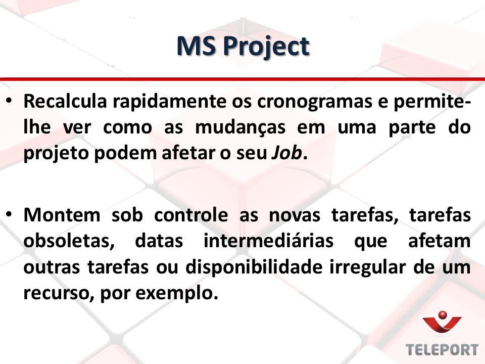 MS Project Recalcula rapidamente os cronogramas e permite-lhe ver como as mudanças em uma parte do projeto podem afetar o seu Job.