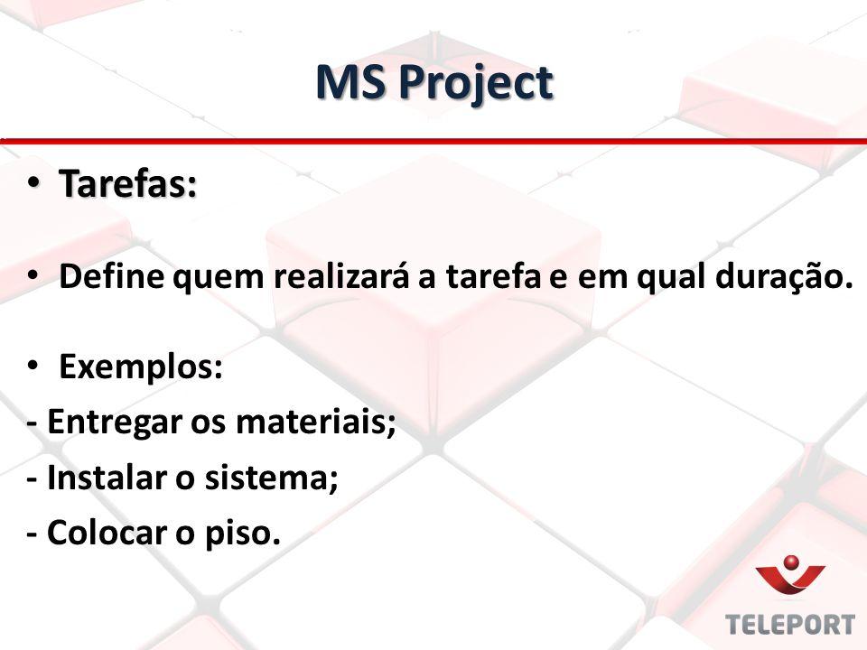 MS Project Tarefas: Define quem realizará a tarefa e em qual duração.