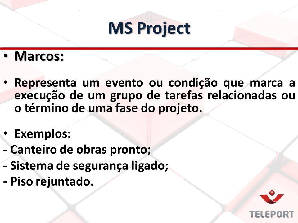MS Project Marcos: Representa um evento ou condição que marca a execução de um grupo de tarefas relacionadas ou o término de uma fase do projeto.