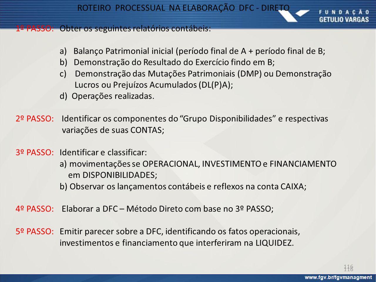ROTEIRO PROCESSUAL NA ELABORAÇÃO DFC - DIRETO