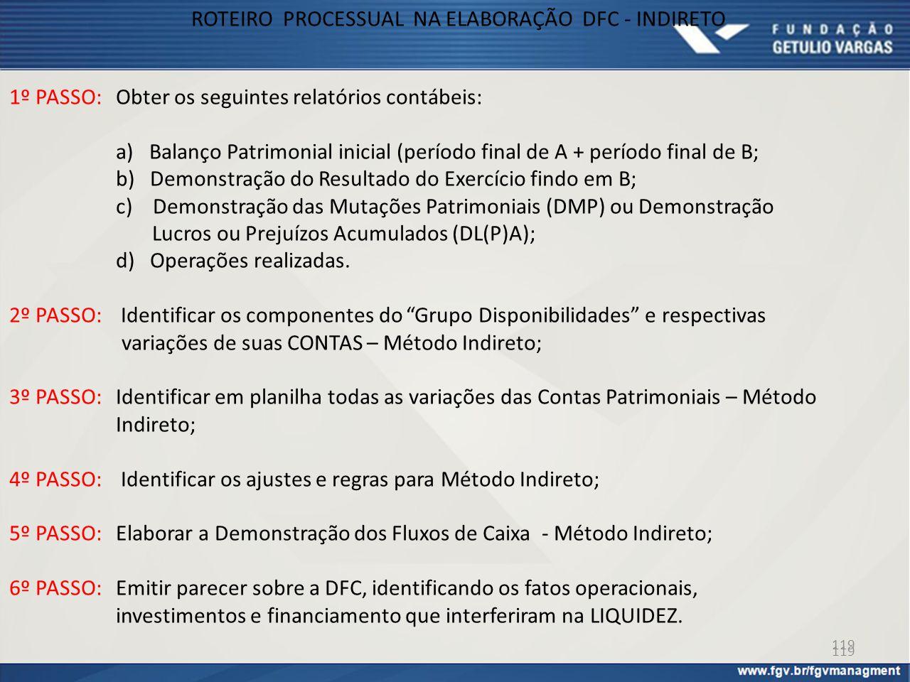 ROTEIRO PROCESSUAL NA ELABORAÇÃO DFC - INDIRETO