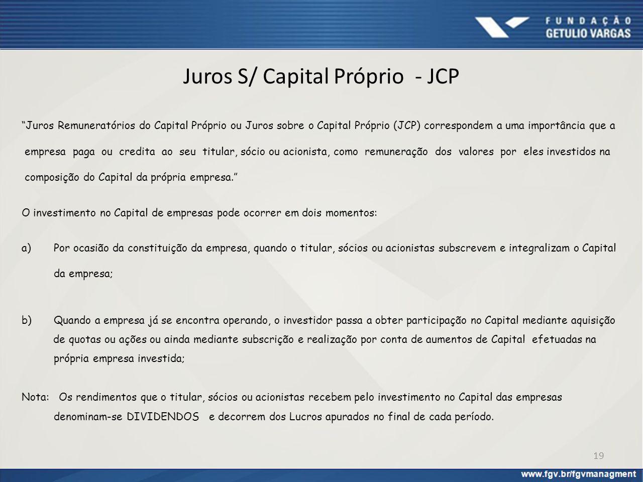 Juros S/ Capital Próprio - JCP