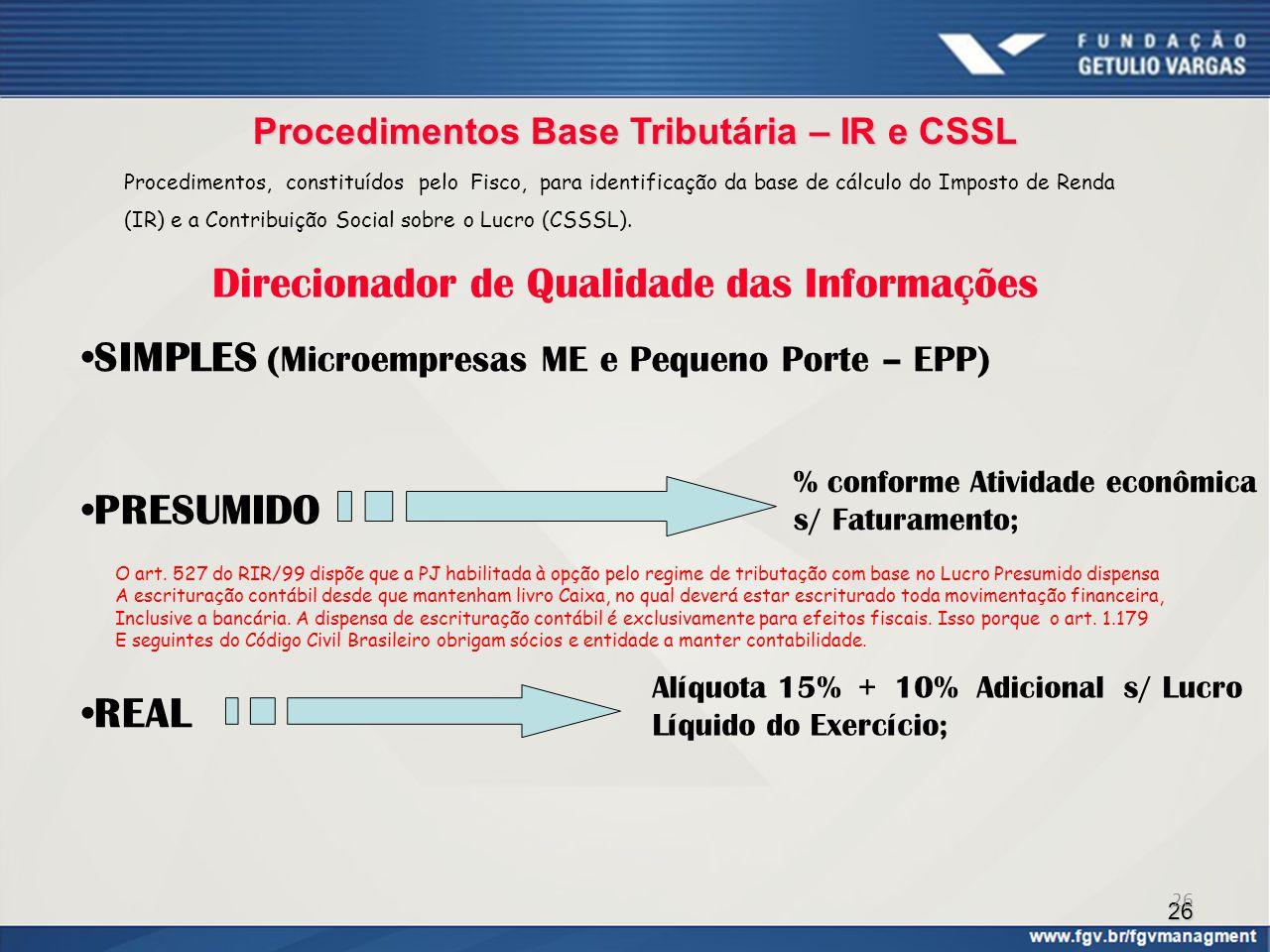 Procedimentos Base Tributária – IR e CSSL