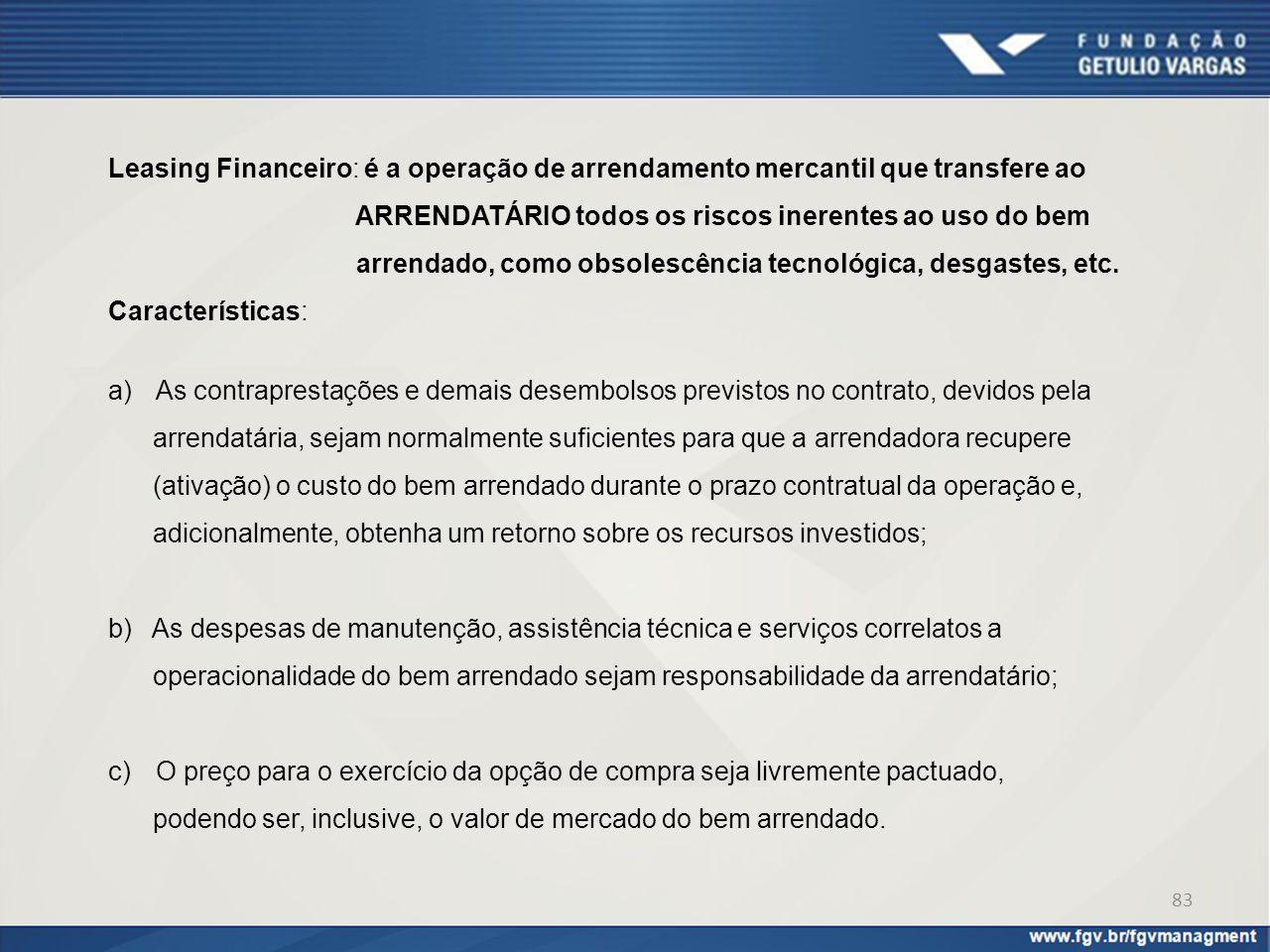 Leasing Financeiro: é a operação de arrendamento mercantil que transfere ao