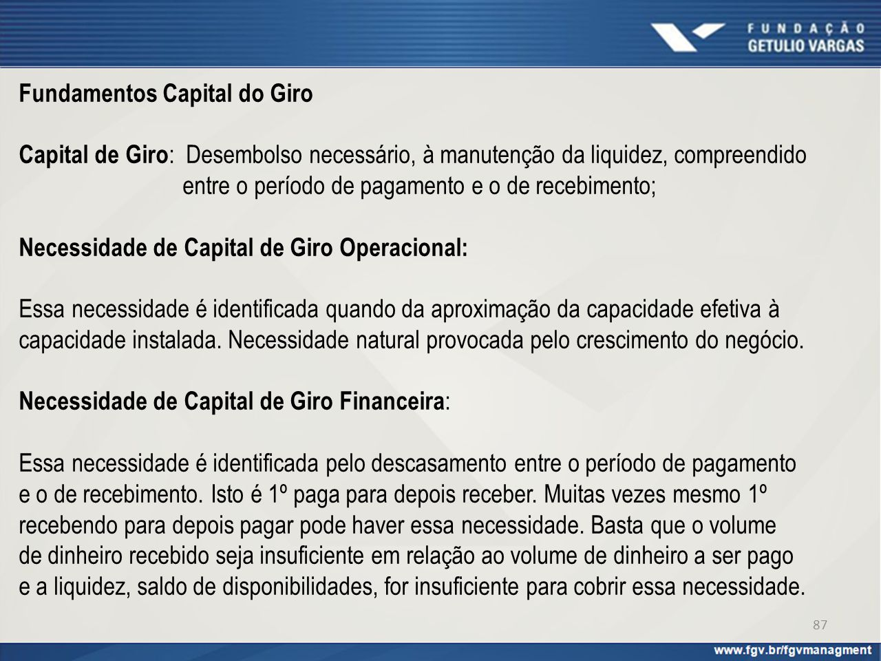 Fundamentos Capital do Giro