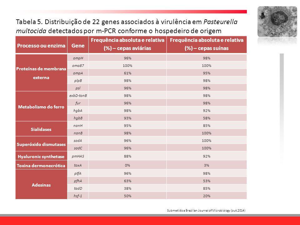 Tabela 5. Distribuição de 22 genes associados à virulência em Pasteurella multocida detectados por m-PCR conforme o hospedeiro de origem