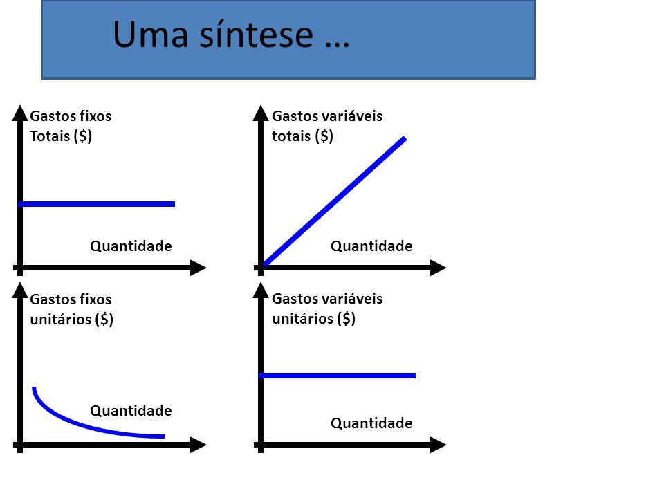 Uma síntese … Quantidade Gastos fixos Totais ($) Gastos variáveis