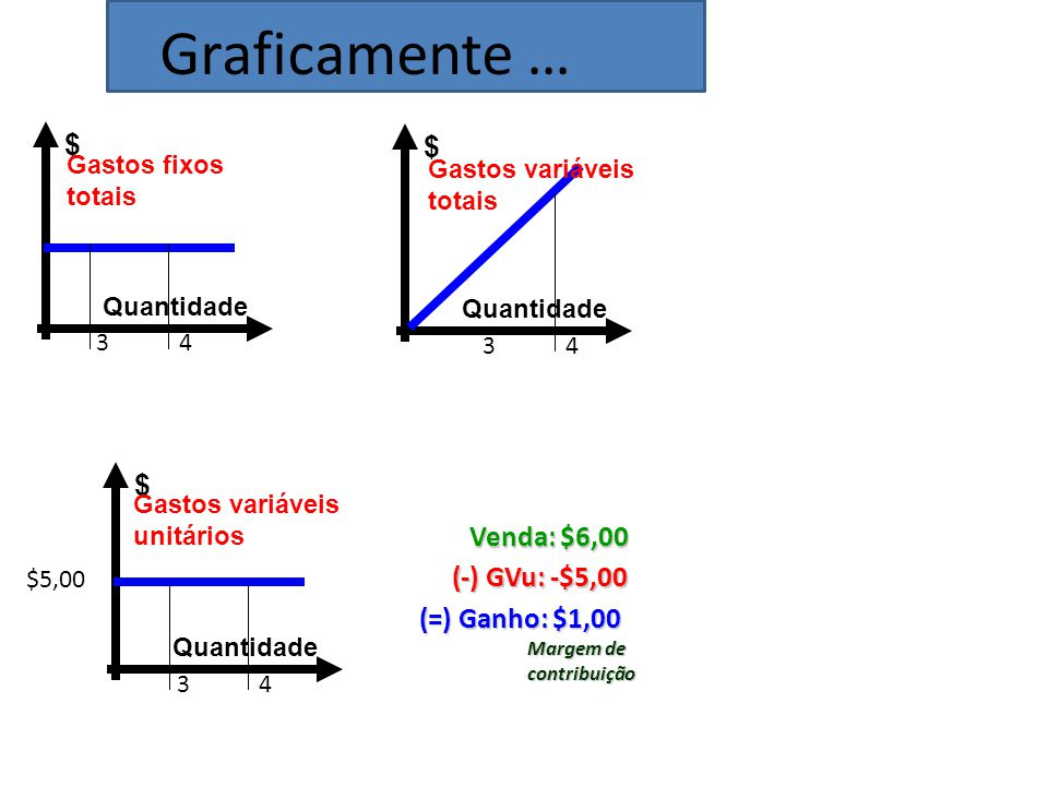 Graficamente … $ $ $ Venda: $6,00 (-) GVu: -$5,00 (=) Ganho: $1,00