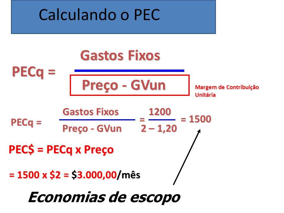 Calculando o PEC Gastos Fixos PECq = Preço - GVun Economias de escopo