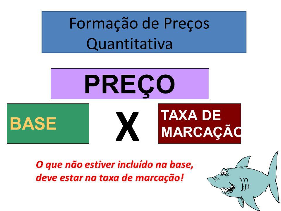 X PREÇO Formação de Preços Quantitativa BASE TAXA DE MARCAÇÃO