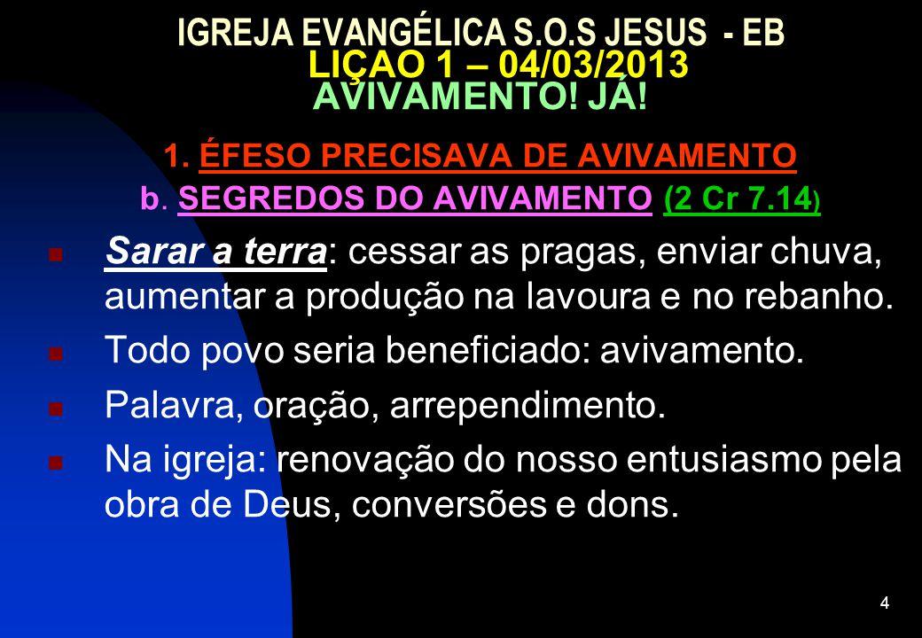 1. ÉFESO PRECISAVA DE AVIVAMENTO