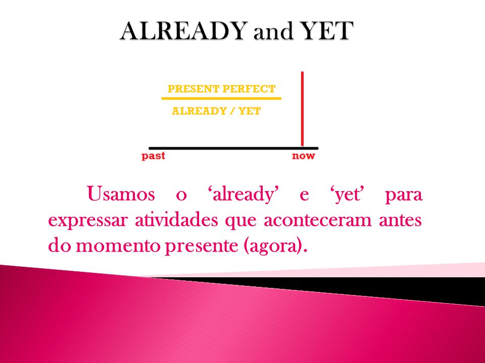 ALREADY and YET Usamos o 'already' e 'yet' para expressar atividades que aconteceram antes do momento presente (agora).