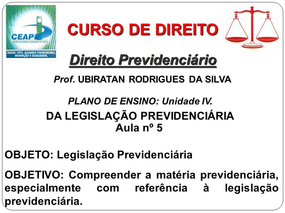 CURSO DE DIREITO Direito Previdenciário DA LEGISLAÇÃO PREVIDENCIÁRIA