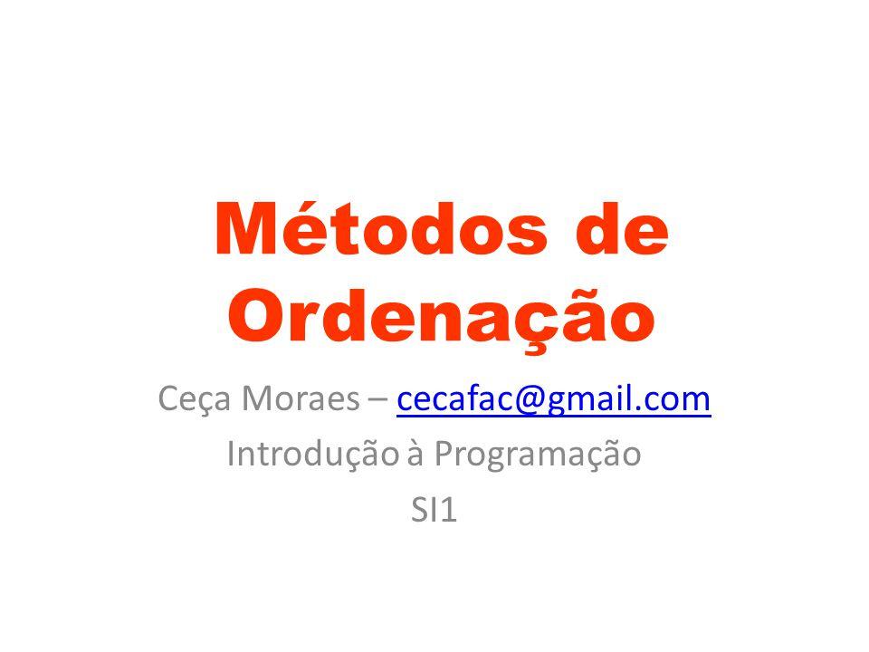 Ceça Moraes – cecafac@gmail.com Introdução à Programação SI1