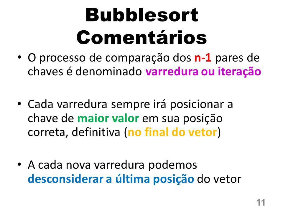 Bubblesort Comentários