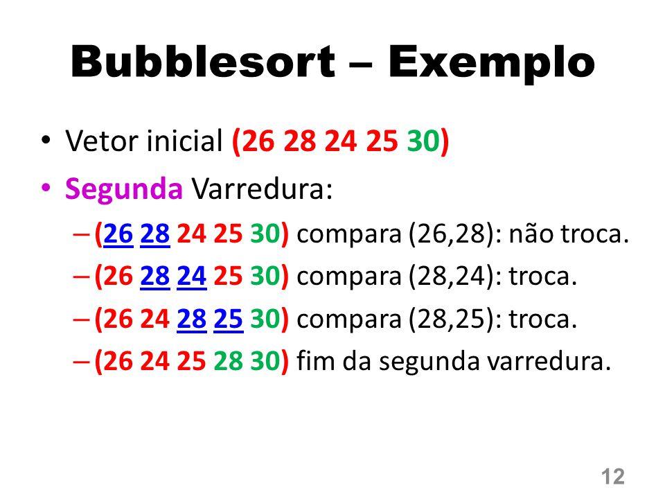 Bubblesort – Exemplo Vetor inicial (26 28 24 25 30) Segunda Varredura: