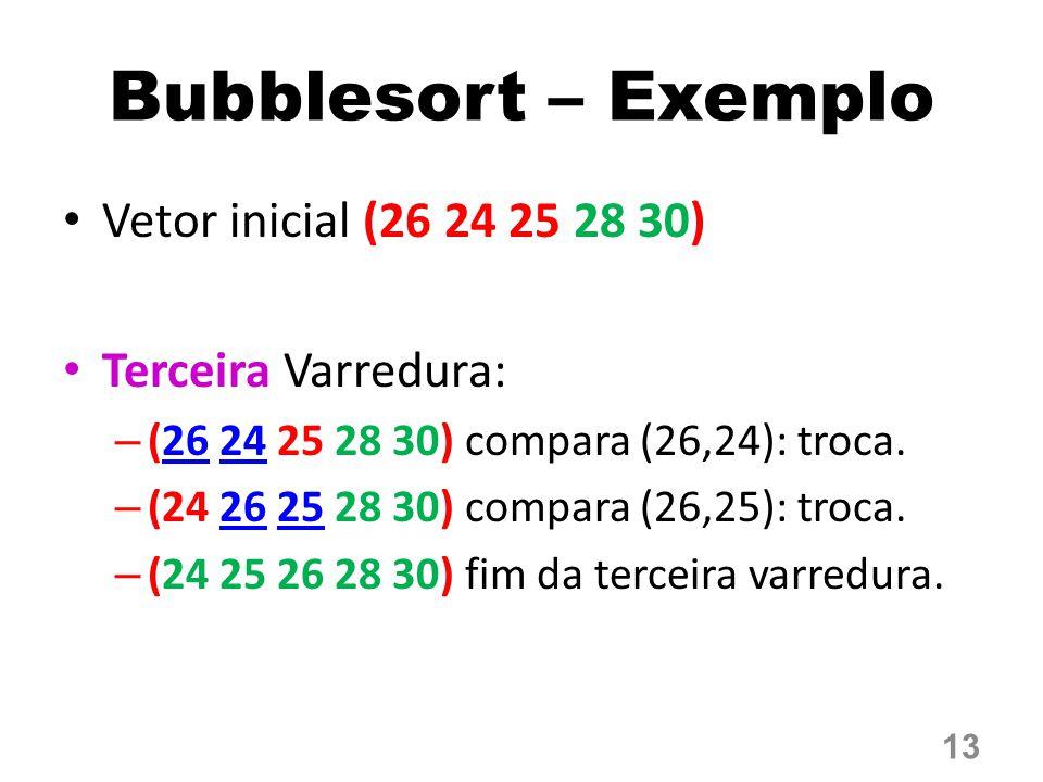 Bubblesort – Exemplo Vetor inicial (26 24 25 28 30)