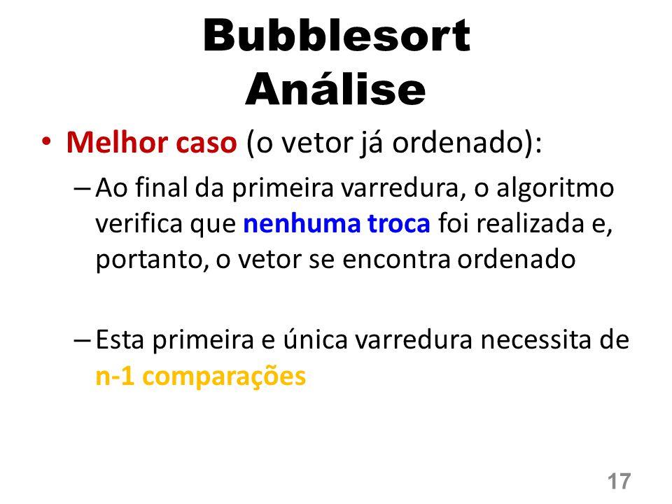 Bubblesort Análise Melhor caso (o vetor já ordenado):