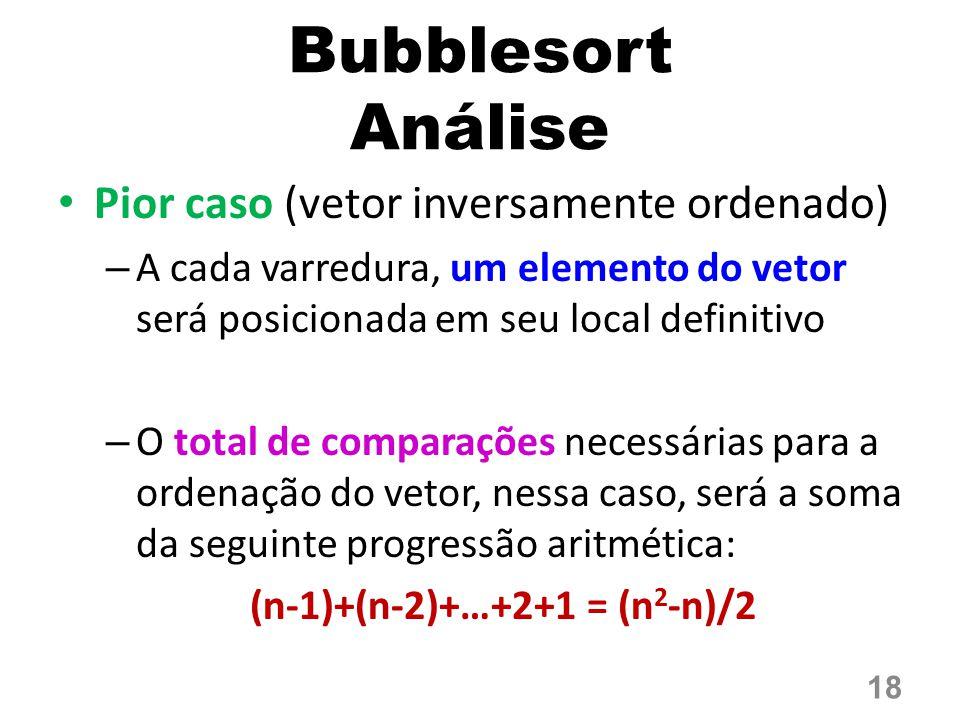 Bubblesort Análise Pior caso (vetor inversamente ordenado)