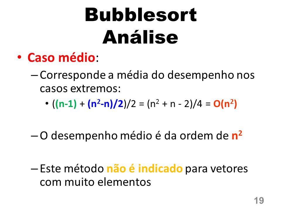 Bubblesort Análise Caso médio: