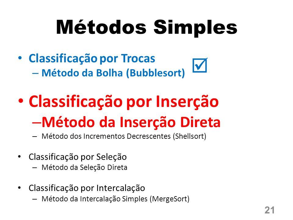 Métodos Simples  Classificação por Inserção Método da Inserção Direta