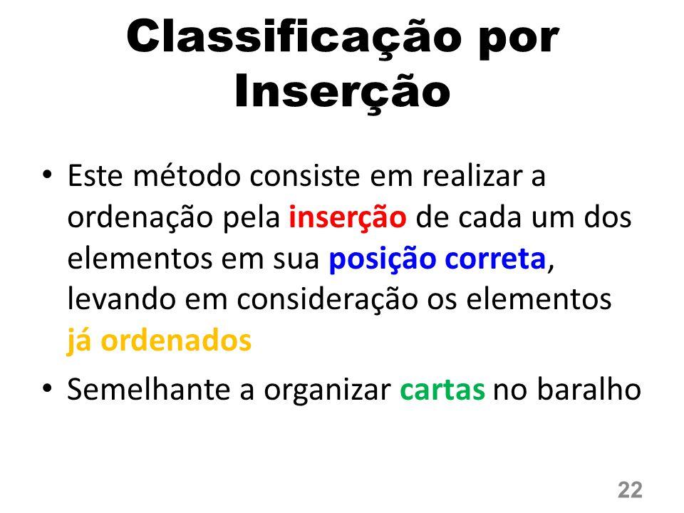 Classificação por Inserção