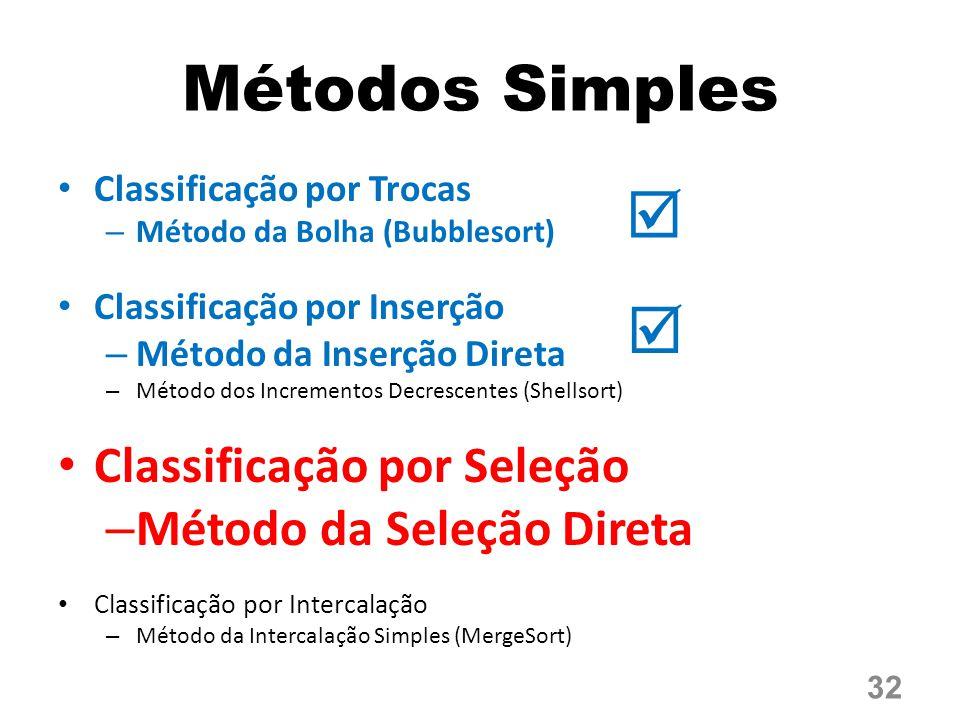 Métodos Simples   Classificação por Seleção Método da Seleção Direta