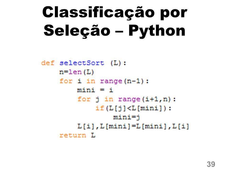 Classificação por Seleção – Python